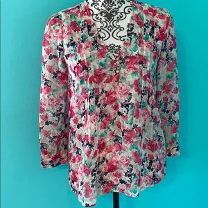 NWT Joie Floral Sheer Btn Front Loose Blouse XXS